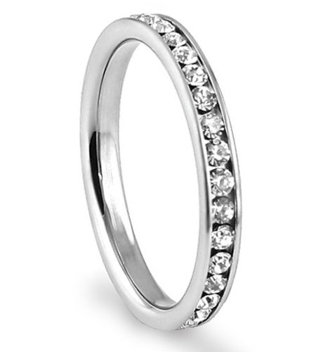 316L Stainless Steel White Cubic Zirconia 3mm Eternity Ring, Size 7