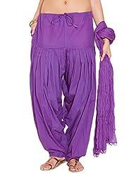 Stylenmart Ladies Purple Cotton Regular Fit With Dupatta Dupatta Patiala Set - B0123NH8HY