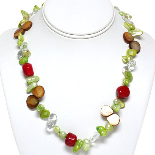 Freshwater Pearl Necklace With Semi Precious Stones 18'' Length
