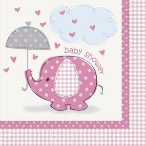 Umbrella Elephant Girl Baby Shower Large Napkins (16ct)