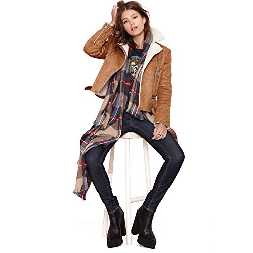 Women`s Outwear Short Coat Casual Slim Fit Suit Suede Punk Jacket My Wonderful World Brown Small