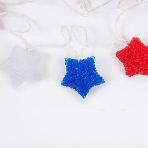 Set of 10 Star Shaped Red White & Blue Plug-in Decorative String Lights for Indoor-Outdoor Use