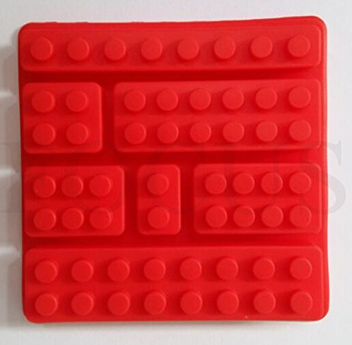Focus 2 Piece Silicon Ice Cube Tray Make 7 Different Size slots Block for Lego Lovers - Red