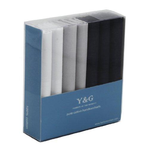 Yec0206 White Grey Navy Blue Soild 7 Piece In Gift Pack Mens Cotton Handkerchiefs By Y&G