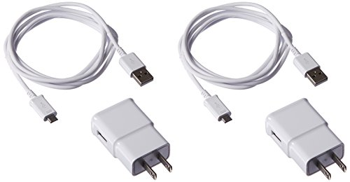 Samsung 2 Travel Charger Adapters with 2 OEM 5-Feet Micro USB Data Sync Cables for Galaxy S2/S3/S4/S5 - Non-Retail Packaging - White (Samsung Galaxy Ii Charger compare prices)