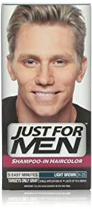 Just for Men Shampoo-In Hair Color, Light Brown 25, 1 application, (Pack of 3)