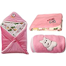 My NewBorn Super Combo Of Hooded Velvet -Cute-Classic Baby Blanket- Set Of 3 Pcs.