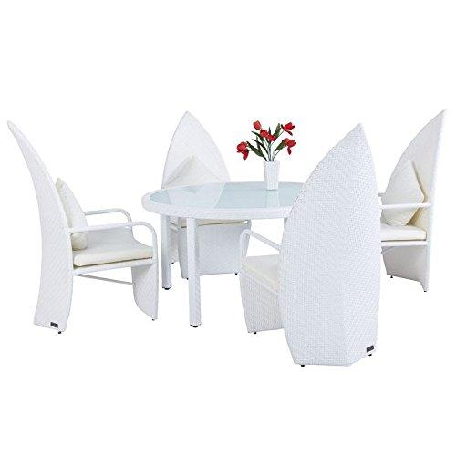 Outflexx Design Esstischgruppe Leaf-Chair Polyrattan w29, weiß