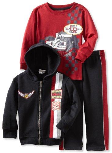 Little Rebels Boys 2-7 3 Piece Team Jacket Set, Black, 2T