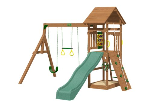 Playtime Riviera Swing Set With 8 Ft Green Wave Slide front-488273
