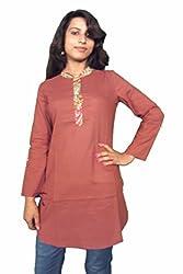 Miraaya Women's Cotton Kurta (M2447B_79620, Brown, M)