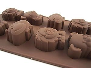 Safari Jungle Animals, Lions, Tigers and Bears, Silicone Baking Non-stick Flexible Mold Muffin Pan