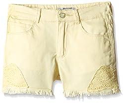 Nauti Nati Girls' Shorts (NAW16-732_Yellow_7Y)