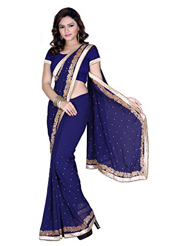Fressia Exclusive Blue Embroidered Border Sarees For Women Party Wear With Heavy Work Blouse Piece