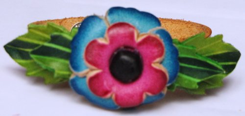 Flower Pink/Blue On Brown Band All Hand Worked Leather Bracelet - Adjustable Size
