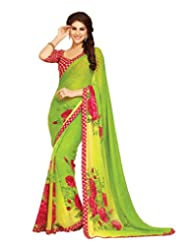 Colors Fashion Green Faux Georgette Latest Designer Printed Saree With Lace Border Work - B00TU2PA04