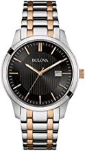 Bulova Dress Men's Quartz Watch with Black Dial Analogue Display and Two Tone Stainless Steel Rose Gold Plated Bracelet 98B264