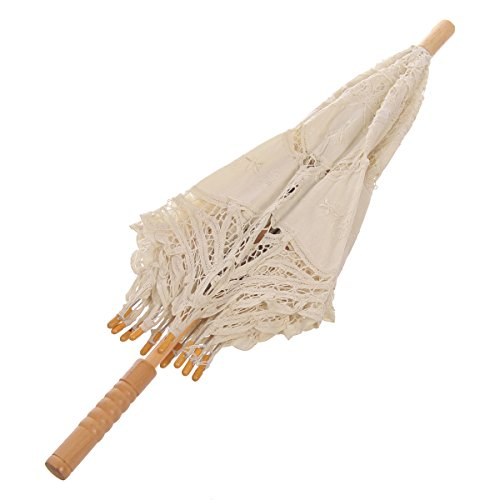 Remedios Ivory Bridal Wedding Cotton Lace Parasol Umbrella for Party Decoration 5