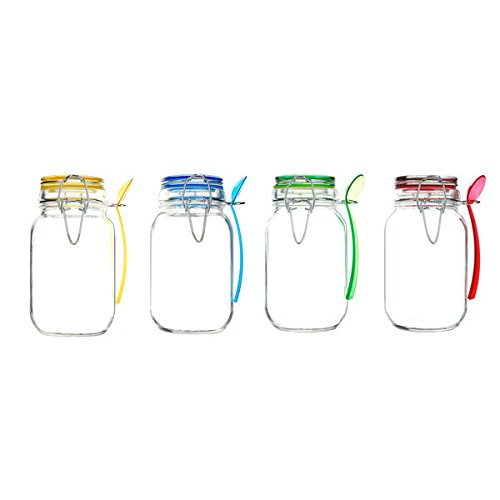 Kinetic GoGreen Glass 15-ounce Mini Jar With Jewel-colored Lid and Spoon (Pack of 4) (Jar Latch compare prices)