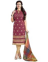 Surat Tex Pink Color Casual Wear Embroidered Chanderi Semi-Stitched Salwar Suit - B017RAYCJU