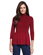 M&S Collection Roll Neck Peplum Jumper