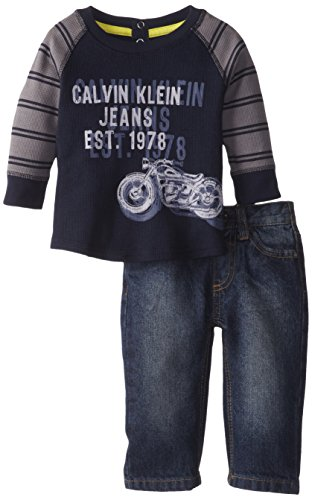 Calvin Klein Baby-Boys Newborn Gray Tee With Stripes Sleeves And Jeans, Gray, 6-9 Months