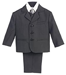 5 Piece Dark Gray Suit with Shirt, Vest, and Tie - Size 4T