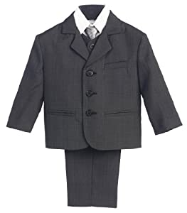 5 Piece Dark Gray Suit with Shirt, Vest, and Tie - Size L (12 Month)