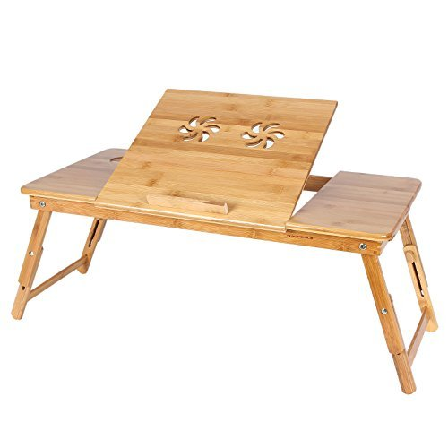 Songmics Table de lit pliable en Bambou pour PC Ordinateur Portable Tablette avec tiroir LLD004