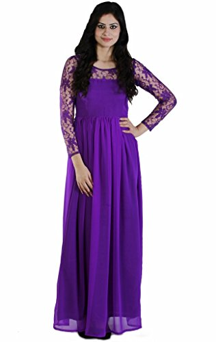 JAMES-SCOT-Beautiful-Round-Neck-Full-Sleeves-Solid-Purple-Colour-Maxi-long-Dress-For-Women