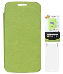 DMG Flip Book Diary Cover Hard Back Case for Motorola Moto G XT1032 (Lime Green) + 6600 mAh PowerBank + Matte Screen