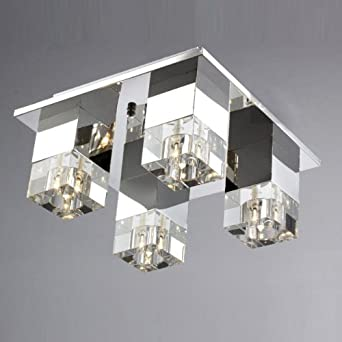 Silver Stainless Steel Crystal Living Room Ceiling Light Modern