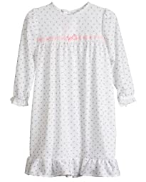 Laura Dare Little Girls Rosebud Jersey Long Sleeve Pajama Nightgown, 4T