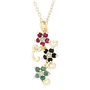 Yellow Gold Overlay Sterling Silver Sapphire, Ruby, Emerald and Diamond Accent Flower Pendant