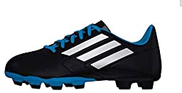 adidas Performance Conquisto Firm-Ground J Soccer Cleat ,Black/White/Solar Blue,1 M Big Kid Us