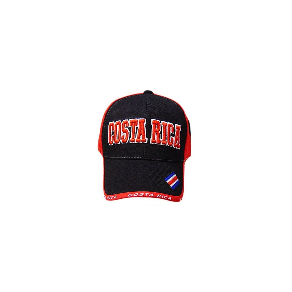 COSTA RICA RED BLACK BASEBALL CAP HAT EMBROIDERED ADJ