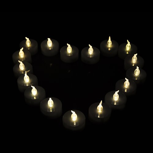 Weanas (TM) 24pcs LED Tealights Candles Light Warm White with Timer Timing Flickering Flameless Two Dozen Lot 24 for Emergency Christmas Birthday Wedding Party with Coin Battery