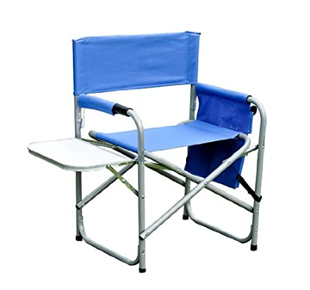 Outsunny Folding Portable Camping Directors Chair w/ Side Table - Blue at Sears.com