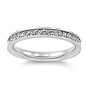 Stainless Steel Eternity Cz Wedding Band Ring 3mm Sz 3-10; Comes With FREE Gift Box (3)
