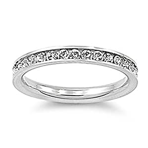 Stainless Steel Eternity Simulated Cz Wedding Band Ring 3mm Sz 3-10; Comes With FREE Gift Box (3)