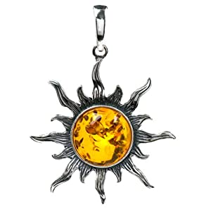 Certified Genuine Honey Amber and Sterling Silver Flaming Sun Medium Pendant
