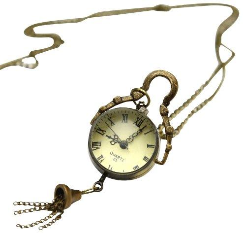 [HummingBird] アンティーク風 懐中時計 ペンダント ゴールド +クロス ブレスレット
