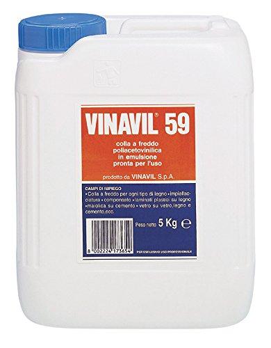 Vinavil 10811 59 Adesivo Acetovinilico, Bianco, 5 kg