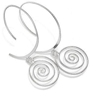 925 Sterling Silver Spiral Threader Earrings