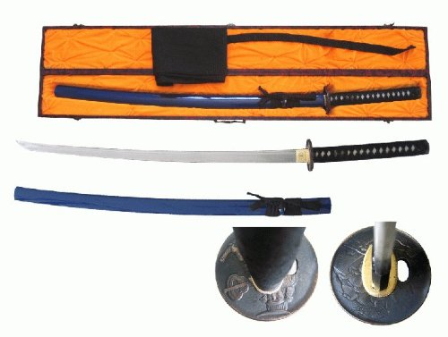 "Blue 41"" Date Masamune Hand Forged Battle Ready Samurai Warrior Katana Sword & Sword Display Case"