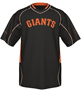 San Francisco Giants Majestic MLB Fast Action V-Neck Fashion Jersey - Black by Majestic