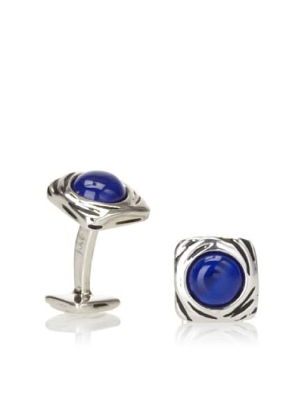 Rotenier Sterling Silver Portail Cufflinks with Lapis, Antiqued Silver