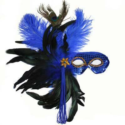 Royal Blue Elegant Masquerade Mardi Gras Feather Mask