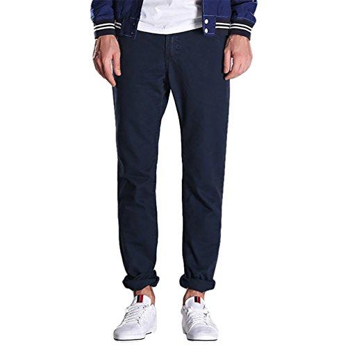 NiSeng Pantaloni da uomo Twill Chino Slim Cotone Straight Pantaloni Cargo (vari colori) Zaffiro 36