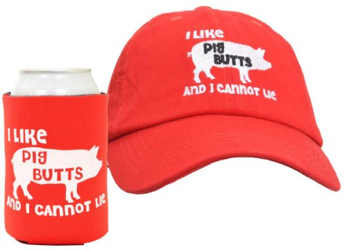 I Like Pig Butts 2-Piece Hat Cap And Coolie Gift Set Bundle Red